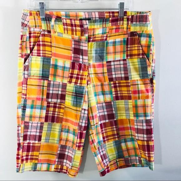 J. Crew Pants - J. Crew city fit plaid patchwork Bermuda shorts 8